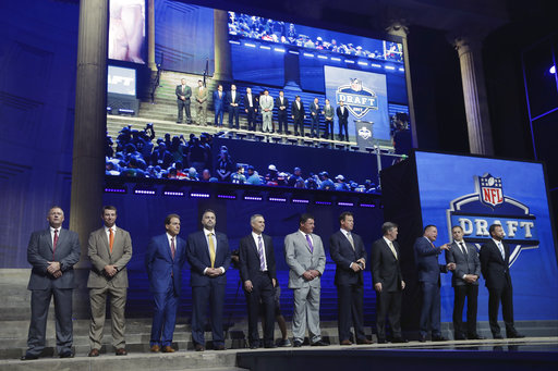 <div class='meta'><div class='origin-logo' data-origin='AP'></div><span class='caption-text' data-credit='AP'>College coaches pose before the first round of the 2017 NFL football draft, Thursday, April 27, 2017, in Philadelphia. (AP Photo/Matt Rourke)</span></div>