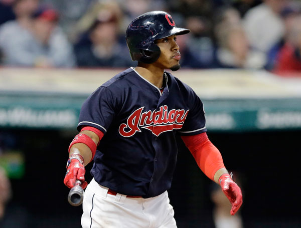 """<div class=""""meta image-caption""""><div class=""""origin-logo origin-image none""""><span>none</span></div><span class=""""caption-text"""">Cleveland Indians' Francisco Lindor watches his two-run home run off Houston Astros relief pitcher Chris Devenski during the seventh inning of a baseball game. (AP Photo/Tony Dejak)</span></div>"""