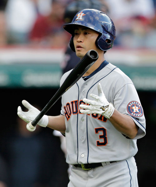 """<div class=""""meta image-caption""""><div class=""""origin-logo origin-image none""""><span>none</span></div><span class=""""caption-text"""">Houston Astros' Norichika Aoki flips his bat after striking out against Cleveland Indians starting pitcher Corey Kluber during the third inning of a baseball game. (AP Photo/Tony Dejak)</span></div>"""