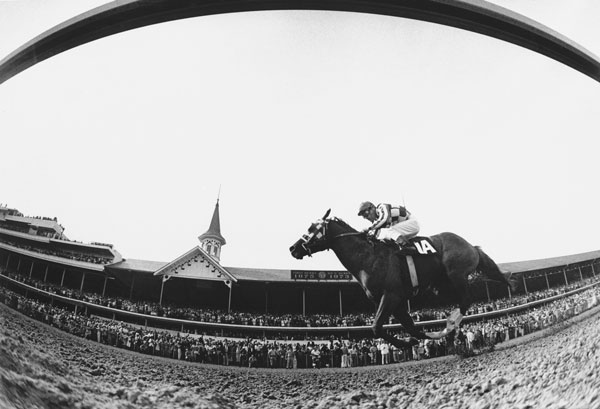 <div class='meta'><div class='origin-logo' data-origin='none'></div><span class='caption-text' data-credit='AP Photo'>This is a fish-eye lens view of Secretariat, ridden by Ron Turcotte, thundering past the packed clubhouse at Churchill Downs, Louisville, KY., to win the 1973 Kentucky Derby.</span></div>