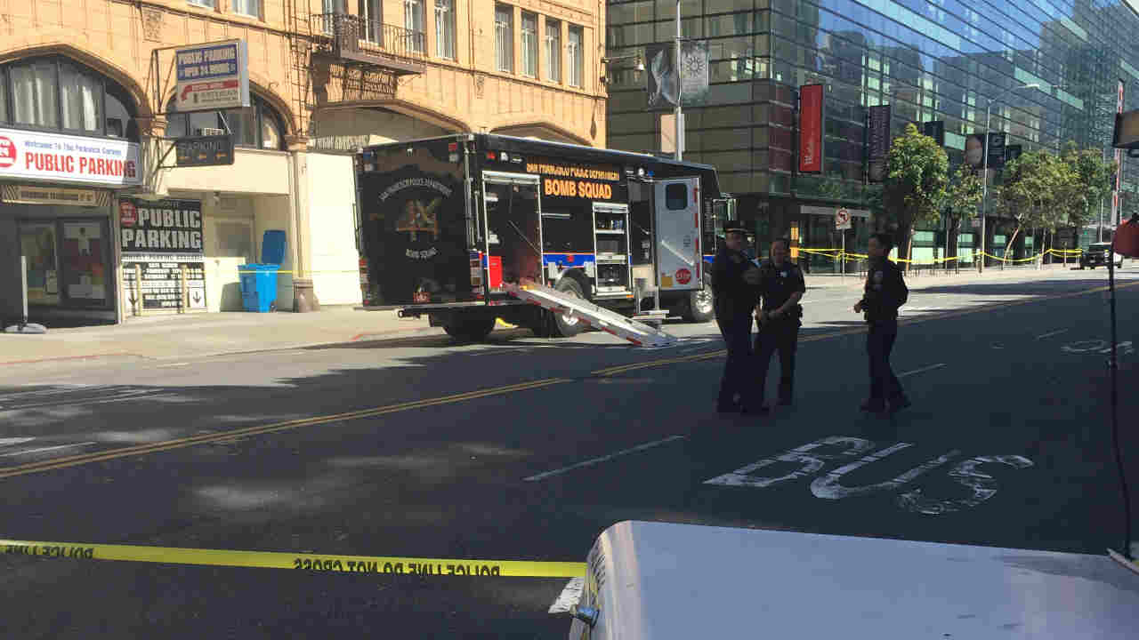 San Francisco police officers are seen during an investigation into a suspicious package on Saturday, April 29, 2017.