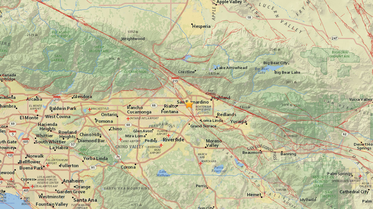 A map shows the epicenter of a magnitude-3.1 earthquake that struck near San Bernardino on Sunday, April 30, 2017.