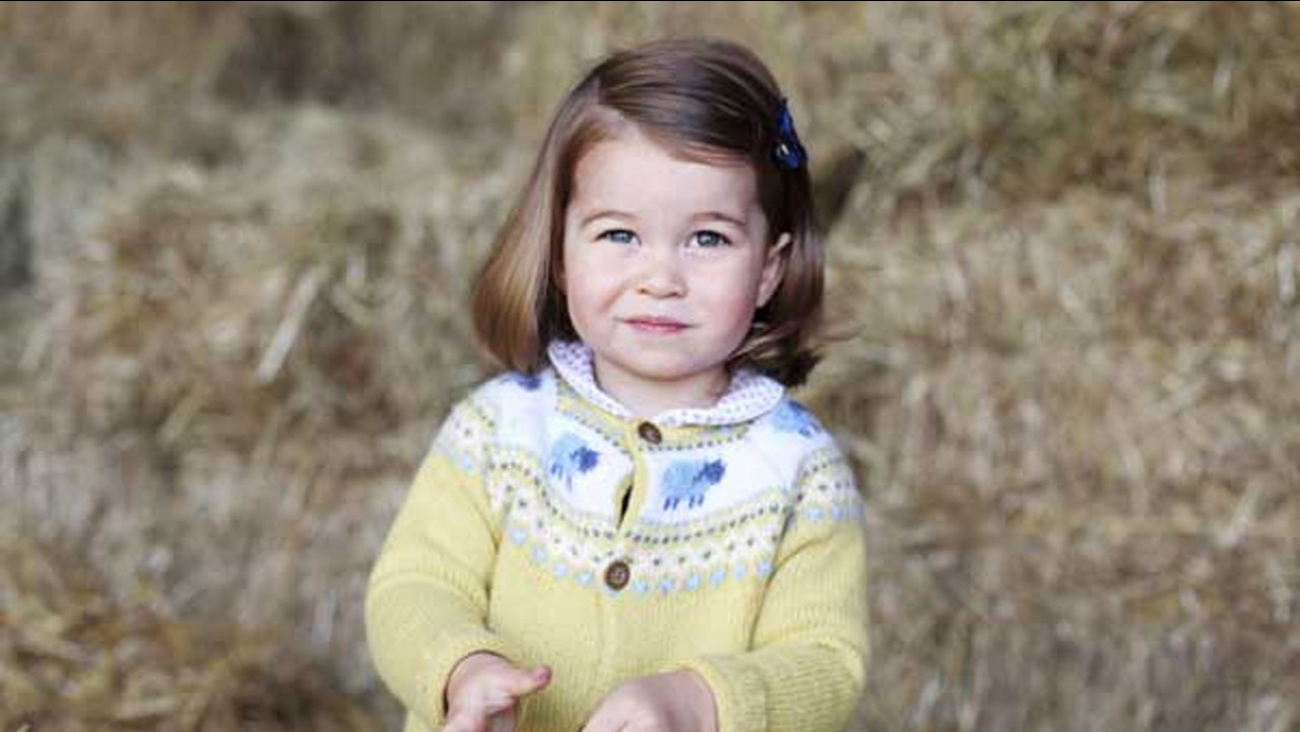 A photo released by the Duke and Duchess of Cambridge shows their daughter, Princess Charlotte, taken in April 2017 by her at Anmer Hall in Norfolk, England.
