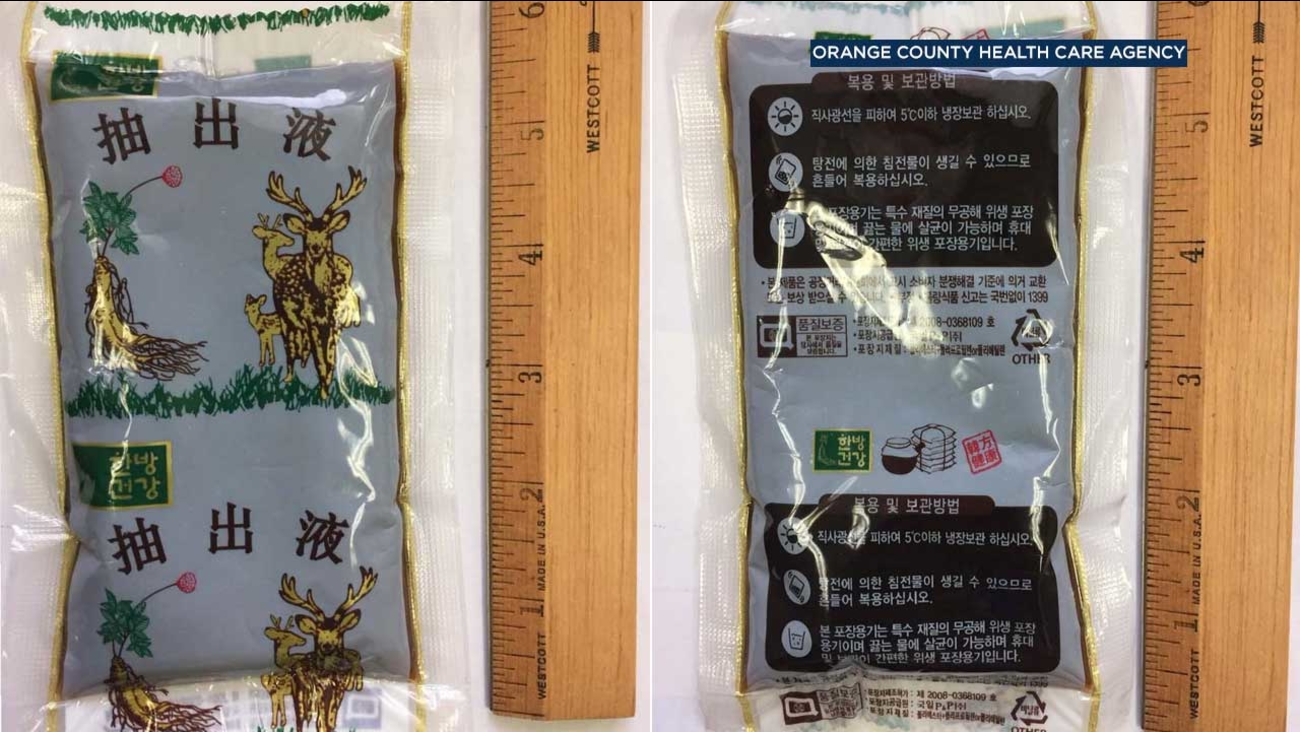 A package of deer-antler tea is seen in photos provided by the Orange County Health Care Agency.