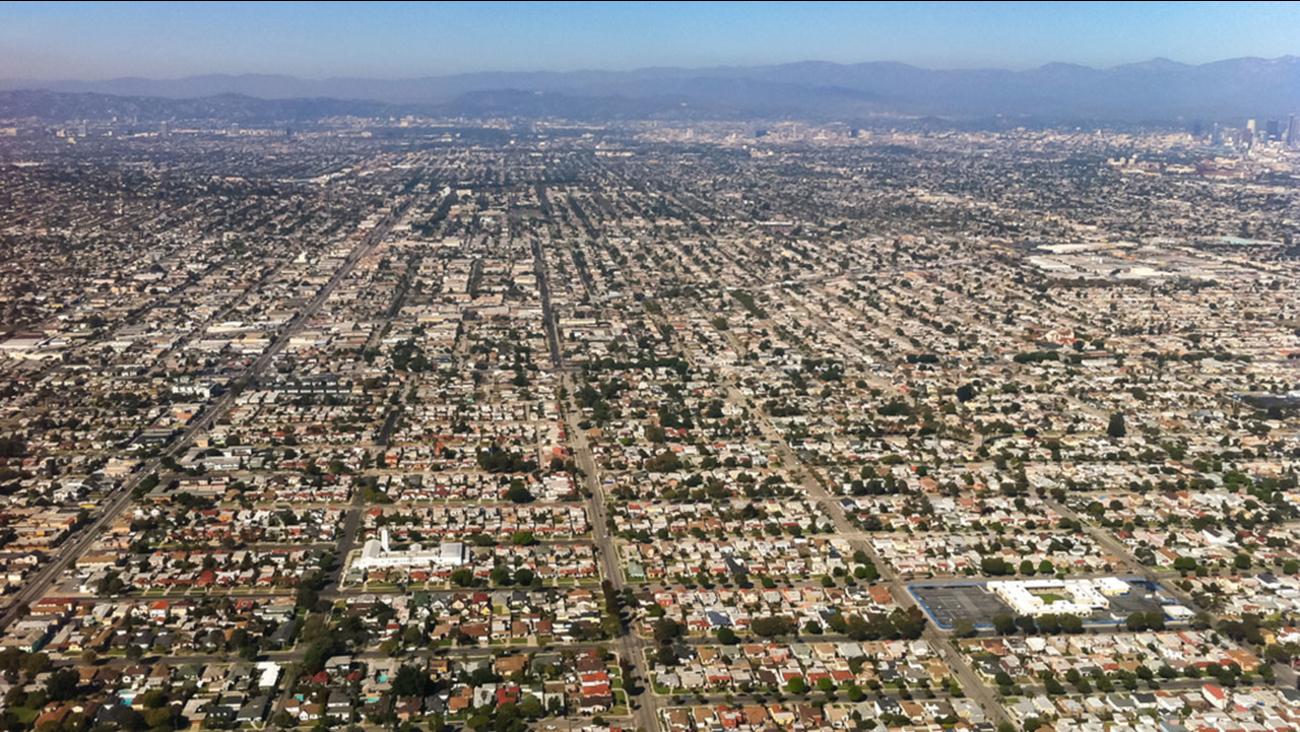 An undated aerial view of Los Angeles.