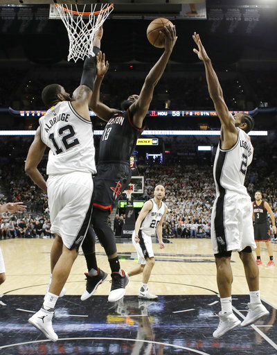 "<div class=""meta image-caption""><div class=""origin-logo origin-image ap""><span>AP</span></div><span class=""caption-text"">Houston Rockets James Harden (13) drives to the basket past San Antonio Spurs Kawhi Leonard (2) and LaMarcus Aldridge (12), Monday, May 1, 2017. (AP Photo/Eric Gay) (AP)</span></div>"