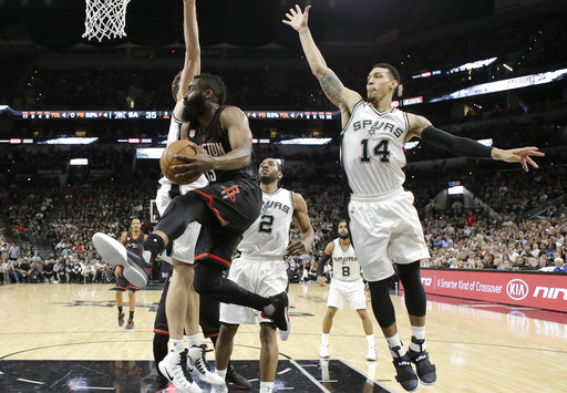 "<div class=""meta image-caption""><div class=""origin-logo origin-image ap""><span>AP</span></div><span class=""caption-text"">Houston Rockets guard James Harden (13) drives to the basket past San Antonio Spurs forward Kawhi Leonard (2) and guard Danny Green (14), Monday, May 1, 2017. (AP Photo/Eric Gay) (AP)</span></div>"