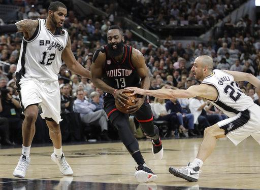 """<div class=""""meta image-caption""""><div class=""""origin-logo origin-image ap""""><span>AP</span></div><span class=""""caption-text"""">Houston Rockets guard James Harden (13) drives between San Antonio Spurs forward LaMarcus Aldridge (12) and guard Manu Ginobili (20), Monday, May 1, 2017. (AP Photo/Eric Gay) (AP)</span></div>"""