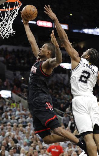 "<div class=""meta image-caption""><div class=""origin-logo origin-image ap""><span>AP</span></div><span class=""caption-text"">Houston Rockets forward Trevor Ariza (1) drives to the basket past San Antonio Spurs forward Kawhi Leonard (2), Monday, May 1, 2017, in San Antonio. (AP Photo/Eric Gay) (AP)</span></div>"