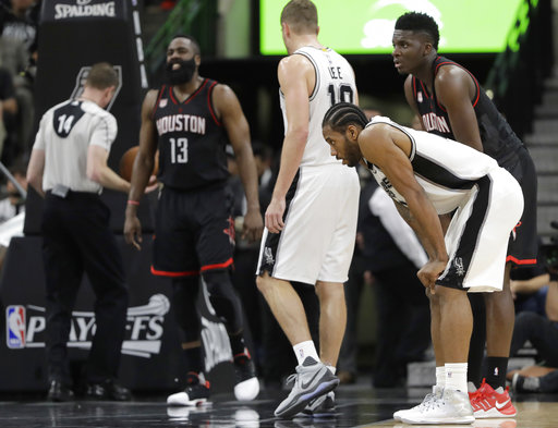 "<div class=""meta image-caption""><div class=""origin-logo origin-image ap""><span>AP</span></div><span class=""caption-text"">San Antonio Spurs forward Kawhi Leonard, right, waits for Houston Rockets guard James Harden (13) to shoot free throws after he was fouled, May 1, 2017. (AP Photo/Eric Gay) (AP)</span></div>"