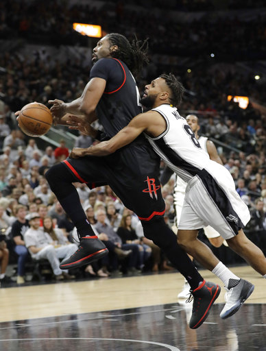 "<div class=""meta image-caption""><div class=""origin-logo origin-image ap""><span>AP</span></div><span class=""caption-text"">Houston Rockets center Nene Hilario, left, is fouled by San Antonio Spurs guard Patty Mills (8), Monday, May 1, 2017, in San Antonio. (AP Photo/Eric Gay) (AP)</span></div>"