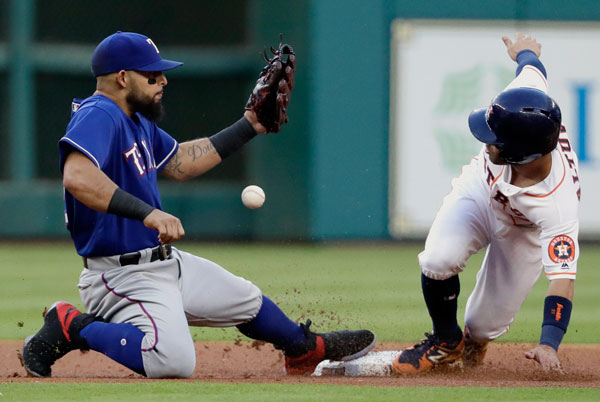 "<div class=""meta image-caption""><div class=""origin-logo origin-image none""><span>none</span></div><span class=""caption-text"">Houston Astros' Jose Altuve, right, steals second base as Texas Rangers second baseman Rougned Odor handles the throw from catcher Jonathan Lucroy during the first inning. (AP Photo/David J. Phillip)</span></div>"