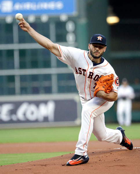 "<div class=""meta image-caption""><div class=""origin-logo origin-image none""><span>none</span></div><span class=""caption-text"">Houston Astros starting pitcher Lance McCullers Jr. throws against the Texas Rangers during the first inning of a baseball game, Monday, May 1, 2017, in Houston. (AP Photo/David J. Phillip)</span></div>"