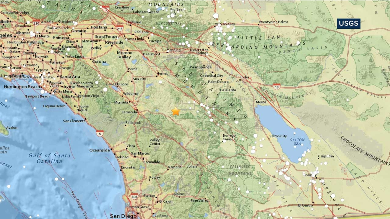 A map from the U.S. Geological Survey indicates the location of a small earthquake that struck near Anza on Wednesday, May 3, 2017.