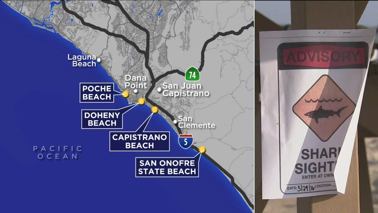 A map shows the locations of recent shark sightings in Orange County.