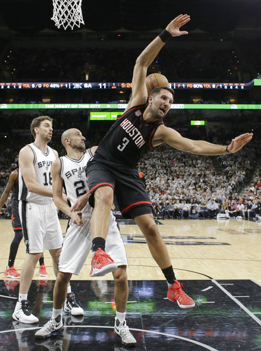 "<div class=""meta image-caption""><div class=""origin-logo origin-image ap""><span>AP</span></div><span class=""caption-text"">Houston Rockets forward Ryan Anderson (3) loses the ball, Monday, May 1, 2017, in San Antonio. (AP Photo/Eric Gay) (AP)</span></div>"