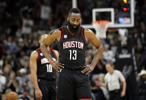 "<div class=""meta image-caption""><div class=""origin-logo origin-image ap""><span>AP</span></div><span class=""caption-text"">Houston Rockets' James Harden (13) walks to the bench during the first half of Game 2 against the San Antonio Spurs on Wednesday, May 3, 2017, in San Antonio. (AP Photo/Eric Gay) (AP)</span></div>"