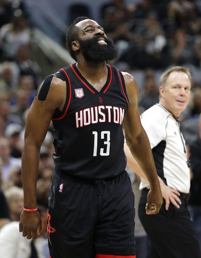 "<div class=""meta image-caption""><div class=""origin-logo origin-image ap""><span>AP</span></div><span class=""caption-text"">Houston Rockets' James Harden (13) grimaces after chasing a ball out of bounds on Wednesday, May 3, 2017, in San Antonio. (AP Photo/Eric Gay) (AP)</span></div>"
