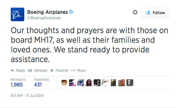 "<div class=""meta image-caption""><div class=""origin-logo origin-image ""><span></span></div><span class=""caption-text"">After the crash was confirmed, Boeing offered their condolences. (BoeingAirplanes / Twitter)</span></div>"