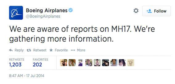 "<div class=""meta image-caption""><div class=""origin-logo origin-image ""><span></span></div><span class=""caption-text"">Being the airplane manufacturer of flight MH17, Boeing responded just as reports were coming in. (BoeingAirplanes / Twitter)</span></div>"