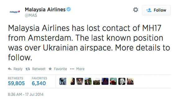 "<div class=""meta image-caption""><div class=""origin-logo origin-image ""><span></span></div><span class=""caption-text"">Malaysia Airlines first reported losing contact with MH17. (MAS / Twitter)</span></div>"