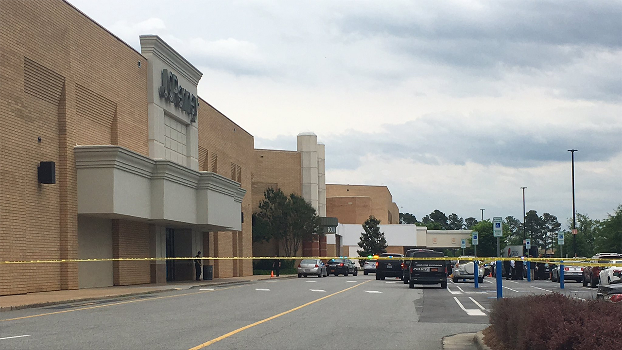 Police block off the entrance at the JCPenney at Four Seasons Town Centre in Greensboro on Thursday.