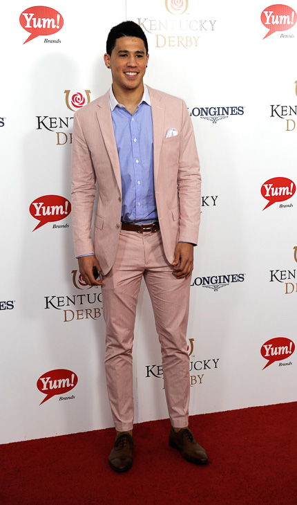 "<div class=""meta image-caption""><div class=""origin-logo origin-image kabc""><span>kabc</span></div><span class=""caption-text"">Devin Booker arrives on the red carpet at the 2015 Kentucky Derby. (Joe Imel/AP)</span></div>"