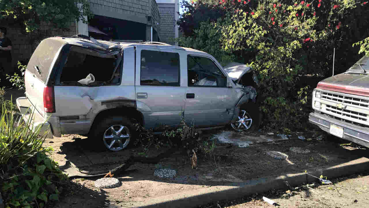 A crashed vehicle is seen in Santa Rosa, Calif. on Wednesday, May 4, 2017