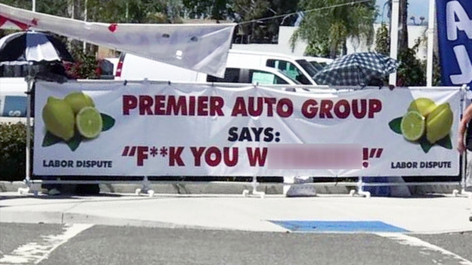buena park car dealership says union put racist sign outside business abc7 los angeles buena park car dealership says union