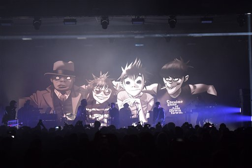 "<div class=""meta image-caption""><div class=""origin-logo origin-image ap""><span>AP</span></div><span class=""caption-text"">The band Gorillaz performing their new album Humanz on stage in London, Friday, March 24, 2017. (Photo by Mark Allan/Invision/AP) (Mark Allan/Invision/AP)</span></div>"