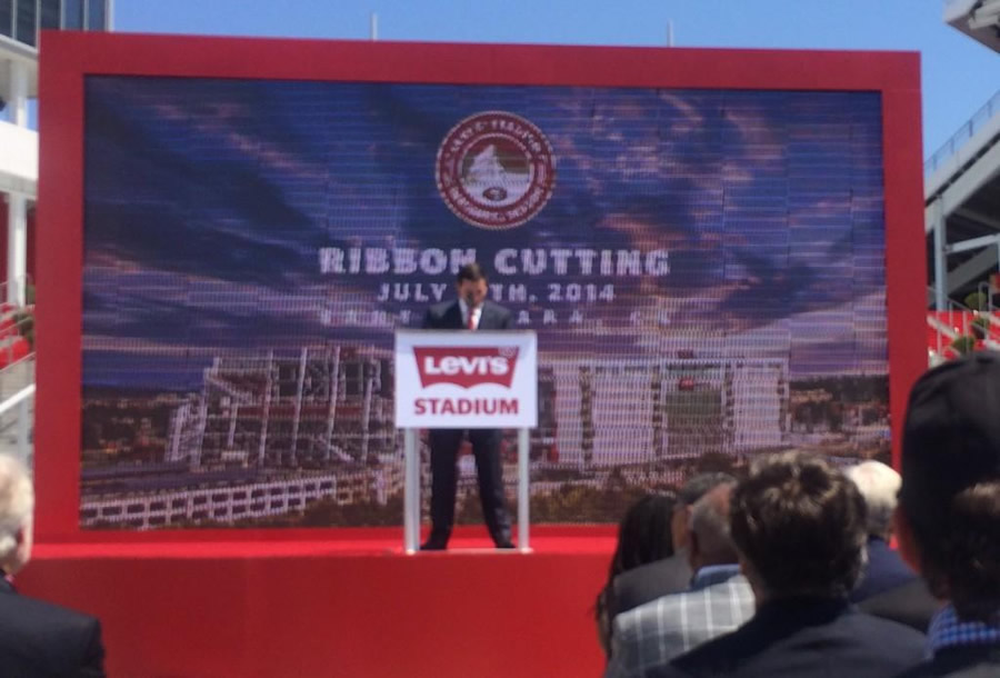 """<div class=""""meta image-caption""""><div class=""""origin-logo origin-image """"><span></span></div><span class=""""caption-text"""">Ribbon cutting day at Levi's Stadium!  An emotional 49ers CEO Jed York makes opening remarks. (ABC7 News Reporter, David Louie)</span></div>"""
