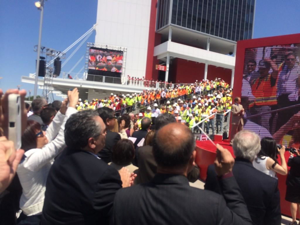 """<div class=""""meta image-caption""""><div class=""""origin-logo origin-image """"><span></span></div><span class=""""caption-text"""">Ribbon cutting day at Levi's Stadium!  Construction workers march down stairs to standing ovation before ribbon cutting. (ABC7 News Reporter, David Louie)</span></div>"""