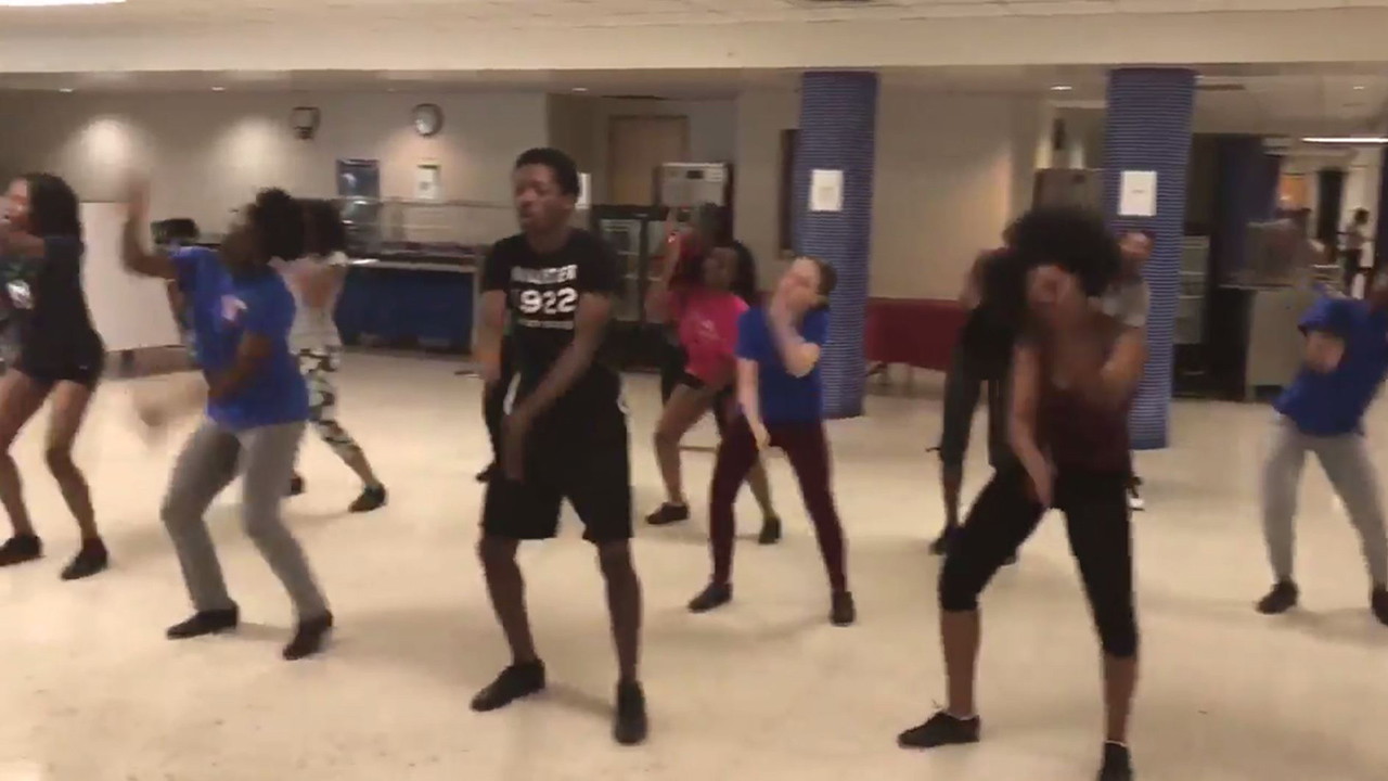 The Sanderson High School Step Team shows support for Apex Friendship High School