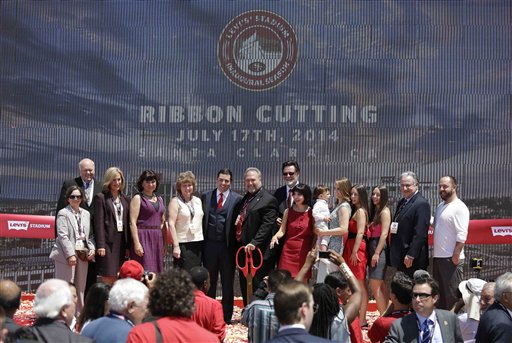 """<div class=""""meta image-caption""""><div class=""""origin-logo origin-image """"><span></span></div><span class=""""caption-text"""">Members of the York family and Santa Clara politicians pose for pictures after the ribbon-cutting and opening of Levi's Stadium. (AP Photo/Eric Risberg)</span></div>"""