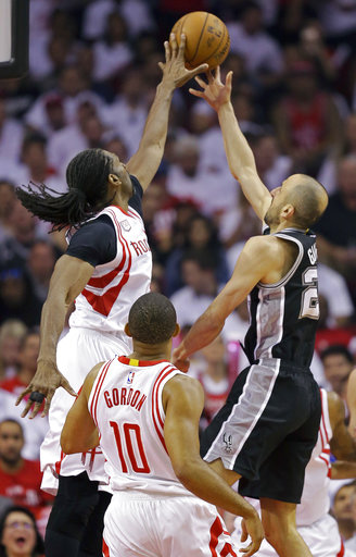"<div class=""meta image-caption""><div class=""origin-logo origin-image ap""><span>AP</span></div><span class=""caption-text"">Houston Rockets center Nene, left, blocks the shot of San Antonio Spurs guard Manu Ginobili during Game 3, Friday, May 5, 2017, in Houston. (AP Photo/Eric Christian Smith) (AP)</span></div>"