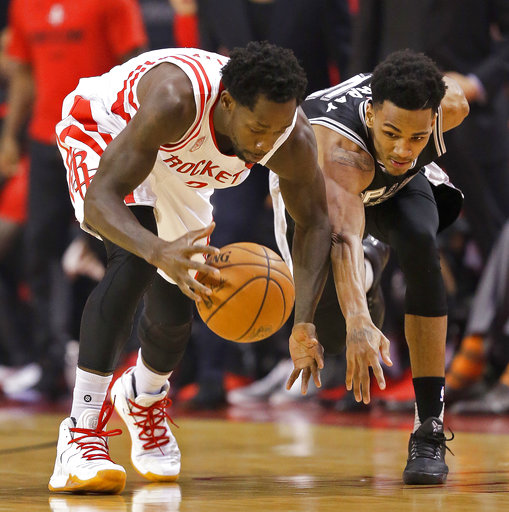 "<div class=""meta image-caption""><div class=""origin-logo origin-image ap""><span>AP</span></div><span class=""caption-text"">Houston Rockets guard Patrick Beverley, left, and San Antonio Spurs guard Dejounte Murray chase the ball during Game 3, May 5, 2017, in Houston. (AP Photo/Eric Christian Smith) (AP)</span></div>"