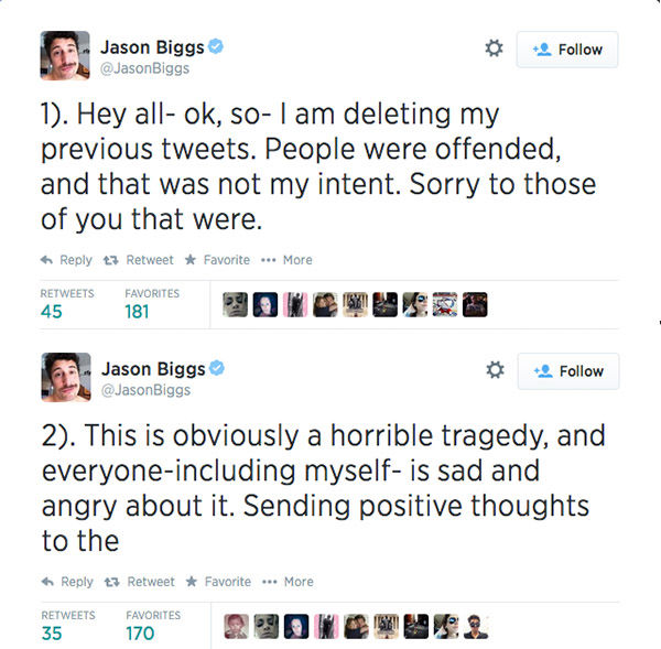 "<div class=""meta image-caption""><div class=""origin-logo origin-image ""><span></span></div><span class=""caption-text"">After a few hours, he deleted his previous posts and issued a four-part apology. (jasonbiggs / Twitter)</span></div>"