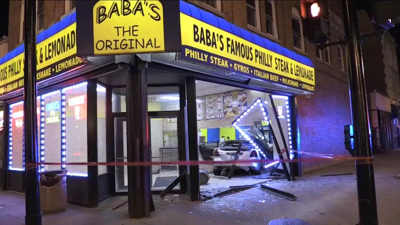 Bronzeville car into restaurant