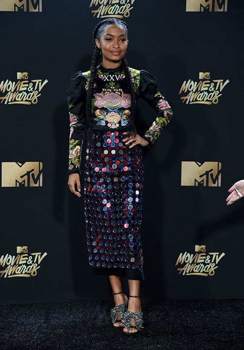 "<div class=""meta image-caption""><div class=""origin-logo origin-image none""><span>none</span></div><span class=""caption-text"">Yara Shahidi arrives at the MTV Movie and TV Awards at the Shrine Auditorium on Sunday, May 7, 2017, in Los Angeles. (Richard Shotwell/Invision/AP)</span></div>"