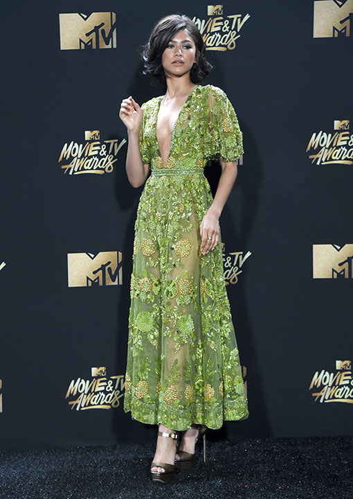 "<div class=""meta image-caption""><div class=""origin-logo origin-image none""><span>none</span></div><span class=""caption-text"">Zendaya arrives at the MTV Movie and TV Awards at the Shrine Auditorium on Sunday, May 7, 2017, in Los Angeles. (Richard Shotwell/Invision/AP)</span></div>"