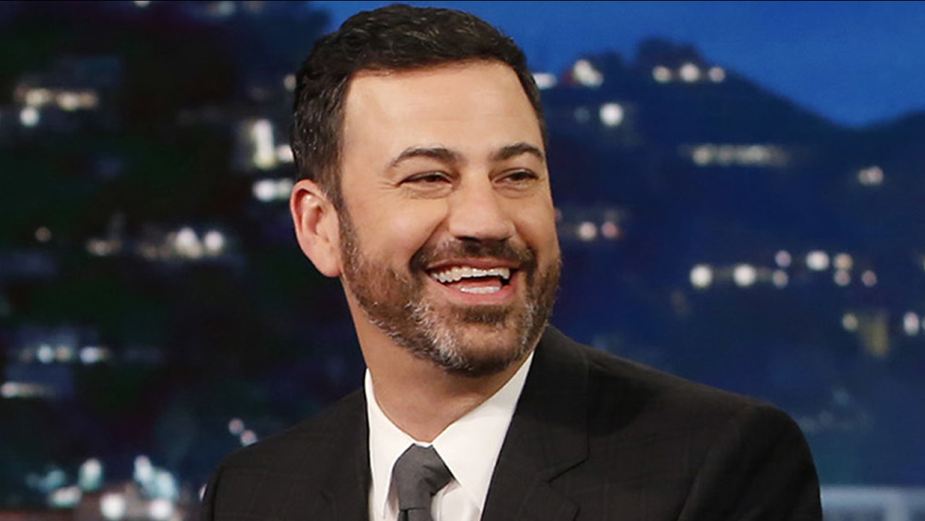 "In this Jan. 3, 2017 image released by ABC, host Jimmy Kimmel appears during ""Jimmy Kimmel Live"" in Los Angeles. (Randy Holmes/ABC via AP)"