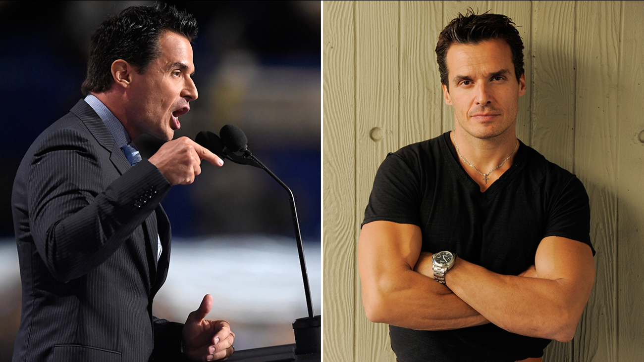 Actor Antonio Sabato, Jr., speaks during the opening day of the Republican National Convention in Cleveland, Monday, July 18, 2016 (left).