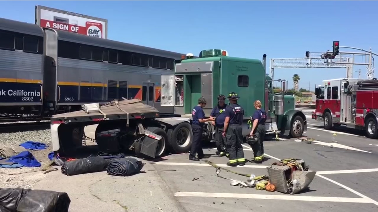 An Amtrak train struck a truck in RIchmond, Calif. on Tuesday, May 9, 2017.