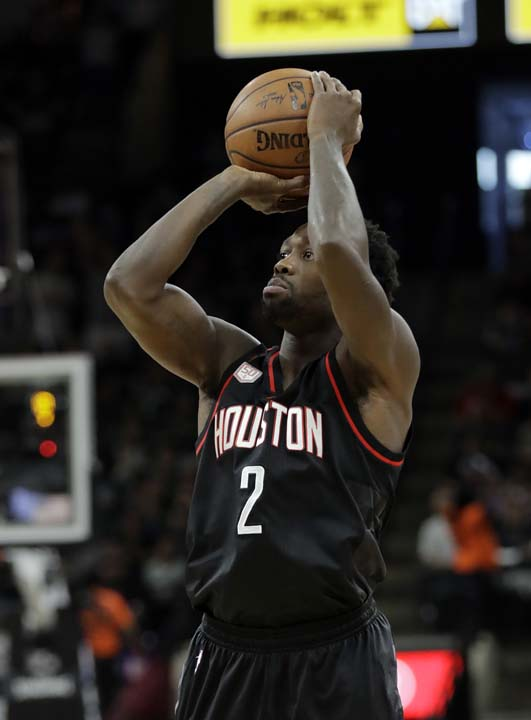 """<div class=""""meta image-caption""""><div class=""""origin-logo origin-image ap""""><span>AP</span></div><span class=""""caption-text"""">Houston Rockets' Patrick Beverley (2) attempts a shot during the first half in Game 5. (AP Photo/Eric Gay) (AP)</span></div>"""