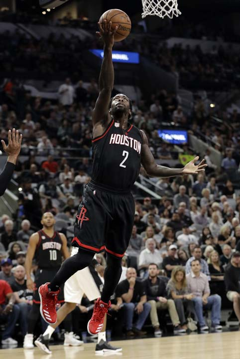 """<div class=""""meta image-caption""""><div class=""""origin-logo origin-image ap""""><span>AP</span></div><span class=""""caption-text"""">Houston Rockets guard Patrick Beverley (2) goes up for a shot during the first half in Game 5. (AP Photo/Eric Gay) (AP)</span></div>"""