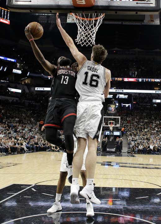 """<div class=""""meta image-caption""""><div class=""""origin-logo origin-image ap""""><span>AP</span></div><span class=""""caption-text"""">Houston Rockets' James Harden (13) goes up for a shot as San Antonio Spurs' Pau Gasol (16) of Spain defends during the first half in Game 5. (AP Photo/Eric Gay) (AP)</span></div>"""