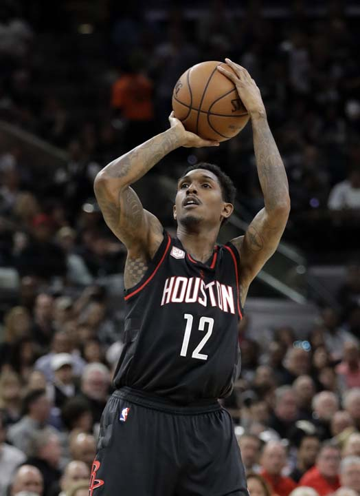 """<div class=""""meta image-caption""""><div class=""""origin-logo origin-image ap""""><span>AP</span></div><span class=""""caption-text"""">Houston Rockets' Lou Williams (12) attempts a shot during the first half in Game 5. (AP Photo/Eric Gay) (AP)</span></div>"""
