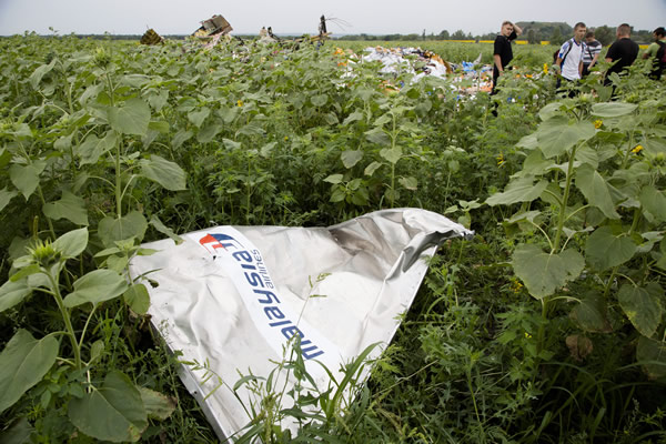 """<div class=""""meta image-caption""""><div class=""""origin-logo origin-image """"><span></span></div><span class=""""caption-text"""">A piece of a plane with the sign """"Malaysia Airlines"""" lies in the grass near the village of Rozsypne, Ukraine, July 18, 2014. (AP Photo/Dmitry Lovetsky)</span></div>"""