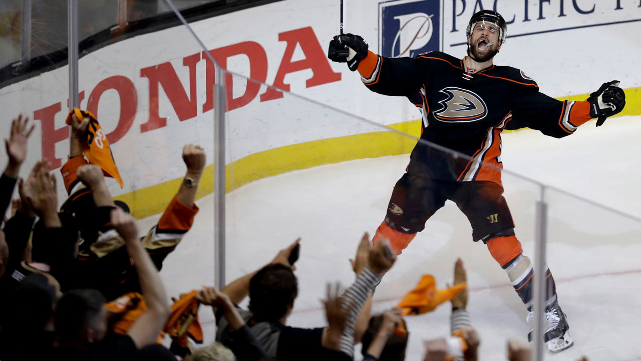 Anaheim Ducks center Andrew Cogliano celebrates after scoring during the second period in Game 7 of a second-round NHL hockey Stanley Cup playoff series.