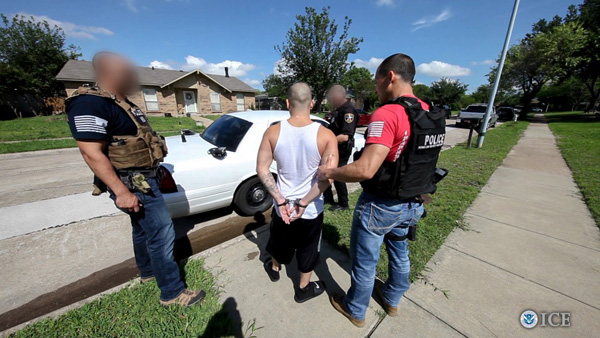 <div class='meta'><div class='origin-logo' data-origin='none'></div><span class='caption-text' data-credit='U.S. Immigration and Customs Enforcement'>Hundreds of gang members have been arrested across the country as a result of a six-week anti-gang operation.</span></div>